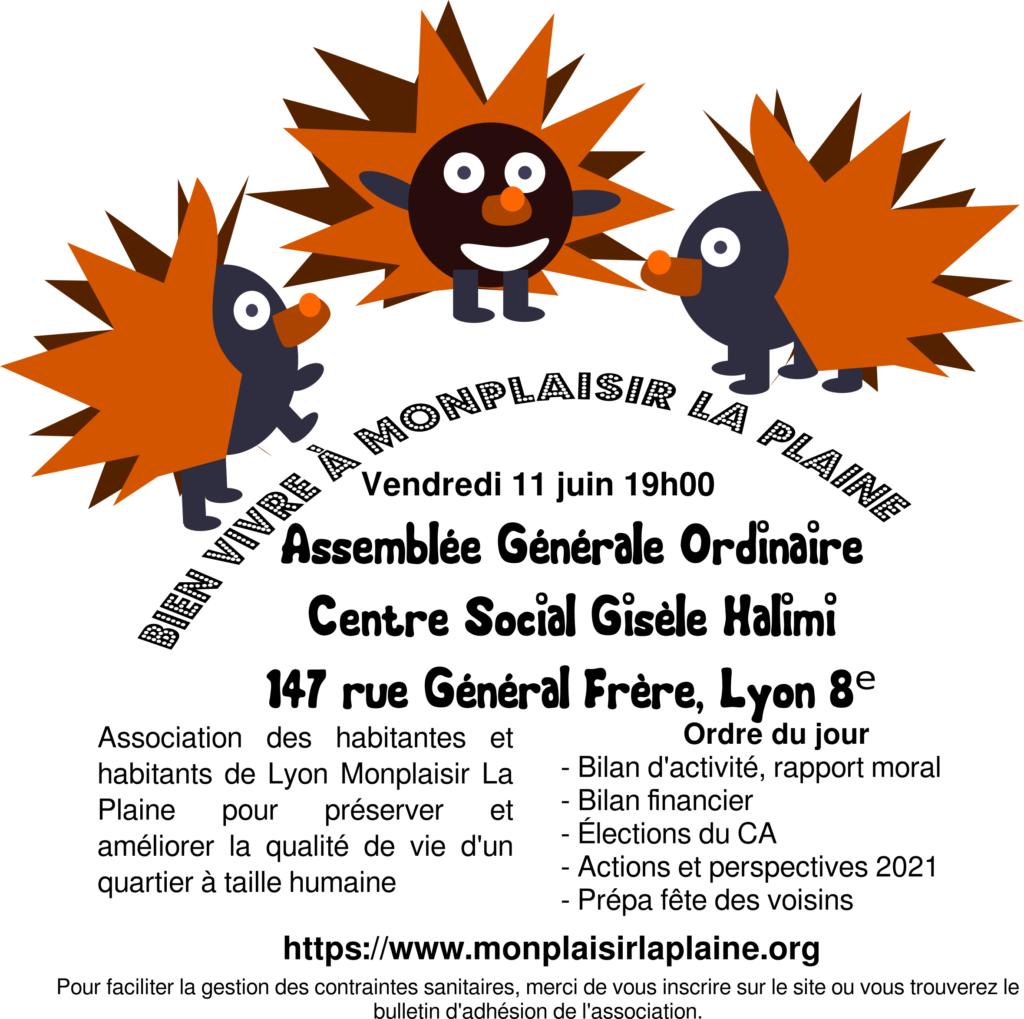 Affichette avec trois hérissons mascotte annonçant l'Assemblée Générale du 11 juin à 19h au centre social Gisèle Halimi